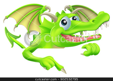 Cartoon Dragon Pointing Down stock vector clipart, Illustration of a happy cartoon dragon pointing down at a sign by Christos Georghiou