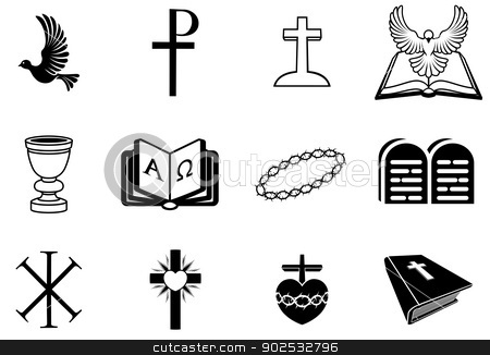 Christian religious signs and symbols stock vector clipart, Illustration of religious signs and symbols from Christianity by Christos Georghiou