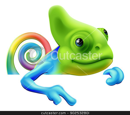 Rainbow chameleon pointing down stock vector clipart, An illustration of a cute cartoon rainbow coloured chameleon pointing from above a sign or banner by Christos Georghiou