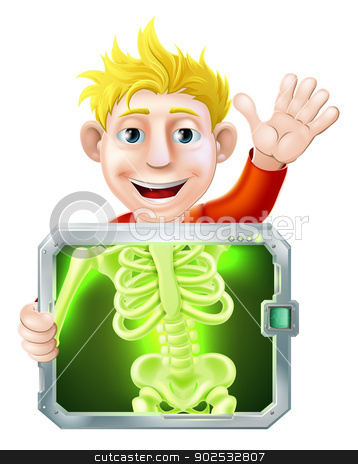 Xray Man Waving stock vector clipart, Illustration of a cartoon man or bay getting a medical x ray and waving with his hand by Christos Georghiou