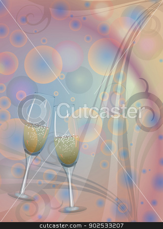 Toast champagne wine stock vector clipart, A celebration toast to the background color of the circles. by Pavel Skrivan