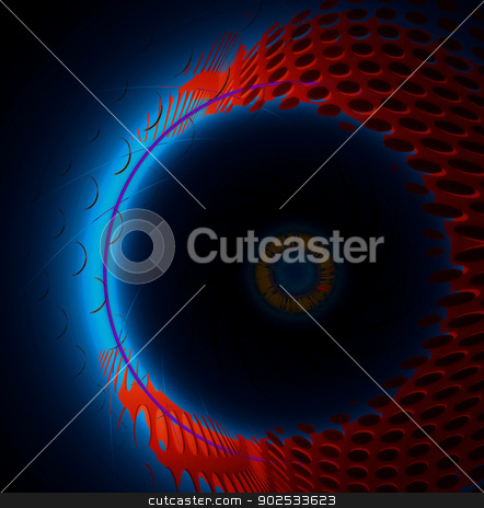 Bright neon technological background stock photo, Bright neon technological background with abstract circles. by Pavel Skrivan