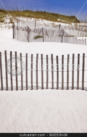 Sand Dunes and Fence at the Beach stock photo, White Sand Dunes and Fence at the Beach. by Andy Dean