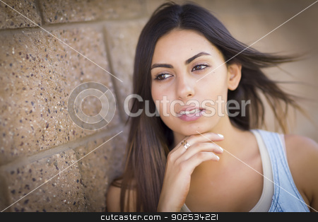 Beautiful Mixed Race Young Woman stock photo, Beautiful Mixed Race Young Woman Portrait Outside. by Andy Dean