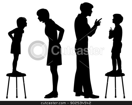 Like parent like child stock vector clipart, Editable vector silhouettes of children copying their parents by Robert Adrian Hillman