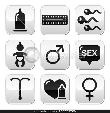 Contraception methods, sex vector buttons sex stock vector clipart, Protection against pregnancy, safe sex grey square buttons set isoalted on white  by Agnieszka Bernacka