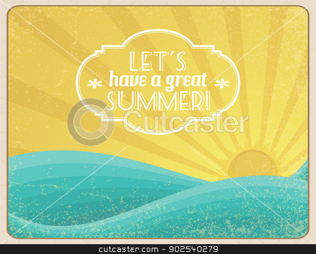 Let's Have a Great Summer stock vector clipart, Grunge framed sunset on the ocean with banner. by wingedcats