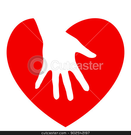 Hand and heart stock photo, Hand and heart. Illustration on white background by dvarg
