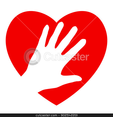 Hand and heart stock photo, Hand and heart. Illustration on white background for design by dvarg
