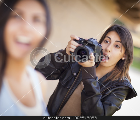 Excited Female Mixed Race Photographer Spots Celebrity stock photo, Excited and Ready Female Mixed Race Photographer Spots Celebrity Outside.  by Andy Dean