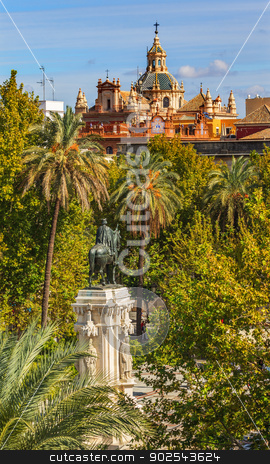 Plaza Nueva Ferdinand Statue Church El Salvador Seville Spain stock photo, Plaza Nueva Ferdinand Statue Church El Salvador Seville Andalusia Spain. by William Perry