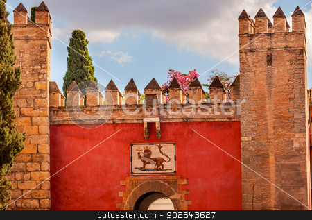 Red Front Gate Alcazar Royal Palace Seville Spain stock photo, Red Front Gate Royal Mosaic Alcazar Royal Palace Seville Andalusia Spain.  Originally a Moorish Fort, oldest Royal Palace still in use in Europe. Built in the 1100s and rebuilt in the 1300s.  by William Perry