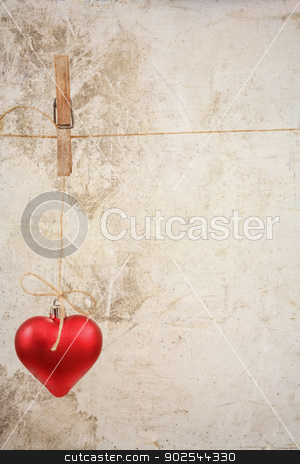 eart as a symbol of love/vintage card with red heart on Grunge vintage love/valentine background stock photo, Heart as a symbol of love hanged on cord/vintage card with red heart on grunge old background/valentine day background  by Artush