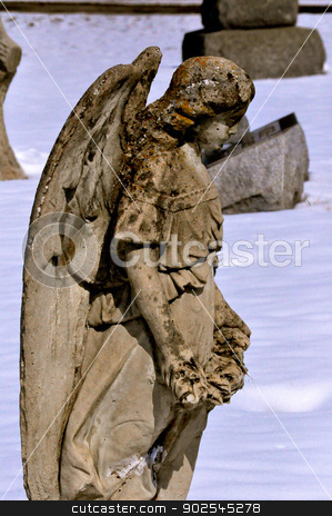 Side view of Angel Cemetery Statue stock photo, Side View of Angel Cemetery Statue  by Liane Harrold