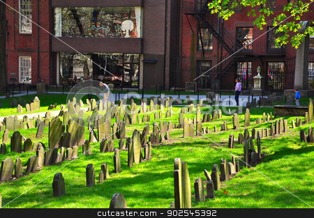 Granary Burying Ground, on the Freedom Trail of Boston city, USA is one of the most famous cemeteries in Boston today. stock photo,  by Hang Dinh