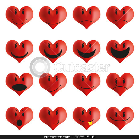 Set of heart shaped smileys stock vector clipart, Collection of red emoticons - heart shaped smileys by JAMDesign