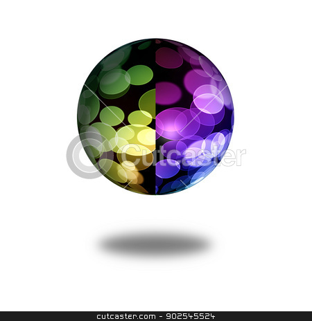 Abstract Globe stock photo, Multi color globe with shadow on white background by Henrik Lehnerer