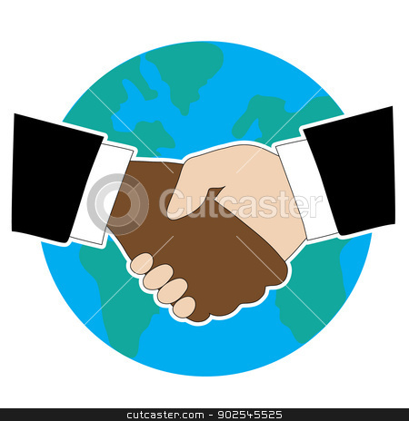 World Hand Shake stock vector clipart, Hands shaking  - one is Black American and the other is White. There is a globe in the background by Maria Bell