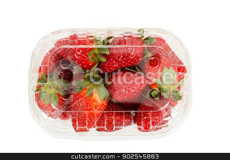 fresh strawberries in box on white stock photo, fresh strawberries in box on white background by Artush