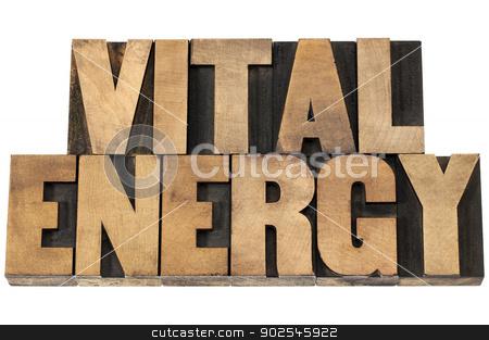vital energy in wood type stock photo, vital energy - isolated text in letterpress wood type printing blocks by Marek Uliasz