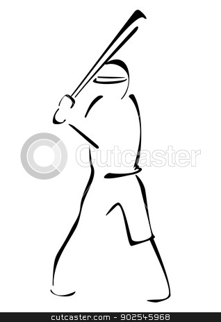 Baseball striker stock vector clipart, Illustration of baseball player ready to strike by Oxygen64