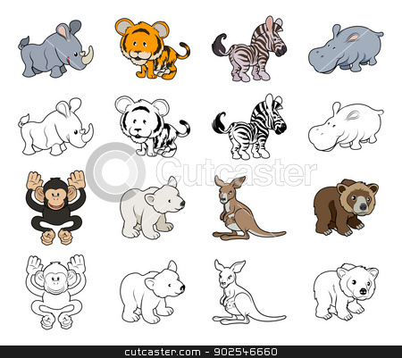Cartoon Wild Animal Illustrations stock vector clipart, A set of cartoon wild animal illustrations. Color and black an white outline versions. by Christos Georghiou