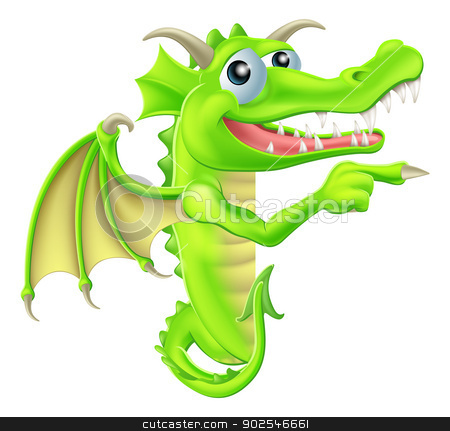 Cartoon Dragon Peeking Round Sign stock vector clipart, A drawing of a  cartoon dragon mascot peeking round a sign and pointing by Christos Georghiou