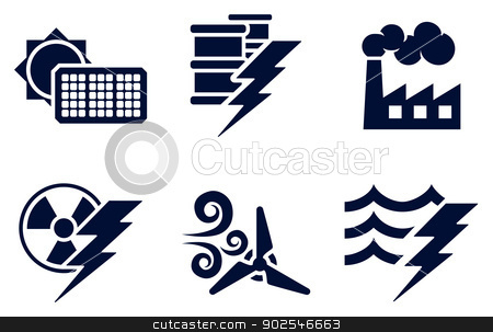 Power and Energy Icons stock vector clipart, An icon set with six icons representing power and energy generation types. Solar, fossil fuel, nuclear, wind, hydro or water plus oil by Christos Georghiou