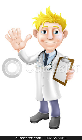 Cartoon doctor with clipboard stock vector clipart, Illustration of a young cartoon doctor waving and holding a clipboard by Christos Georghiou