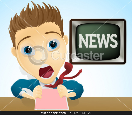 Shocked TV news presenter stock vector clipart, An illustration of a cartoon shocked TV news presenter by Christos Georghiou