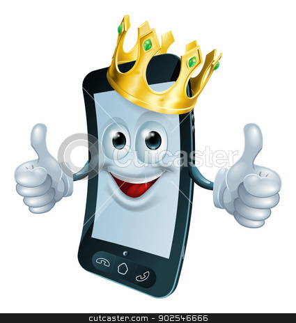 Phone man with crown stock vector clipart, Illustration of a phone mascot man wearing a gold crown and giving a double thumbs up by Christos Georghiou