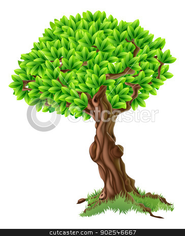 Tree Illustration stock vector clipart, An illustration of a bright green tree with grass around the trunk by Christos Georghiou