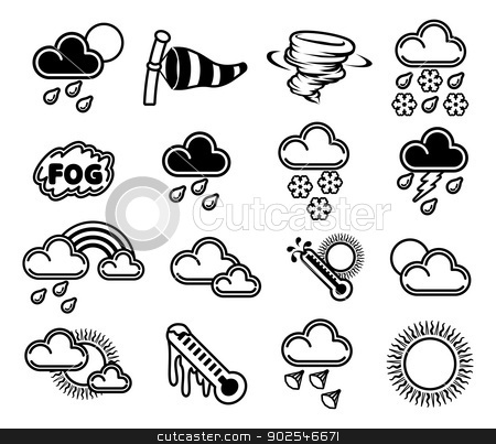 Weather Icons stock vector clipart, A set of monochrome weather icons like those used in forecasts by Christos Georghiou