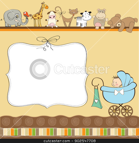 new baby boy announcement card with pram stock vector clipart, new baby boy announcement card with pram by balasoiu