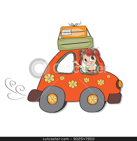 happy woman going on holiday by car stock vector clipart, happy woman going on holiday by car, vector illustration by balasoiu