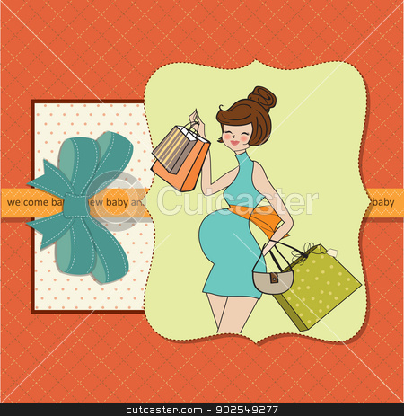 baby announcement card with beautiful pregnant woman on shopping stock vector clipart, baby announcement card with beautiful pregnant woman on shopping by balasoiu