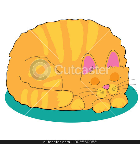 Sleeping  Cat stock vector clipart, A big fat marmalade cat is asleep on a teal rug by Maria Bell