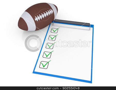 Checklist and football ball stock photo, Checklist and football ball. Isolated render on a white background by cherezoff