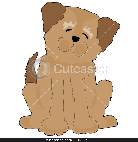 Funny Dog stock vector clipart, A funny shaggy dog is tilting his head and smiling by Maria Bell