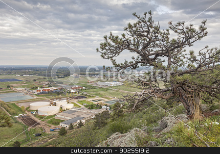 Fort Collins foothills stock photo, foothils near Fort Collins, Colorado, with water plant, solar farm and university campus by Marek Uliasz