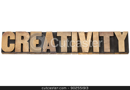 creativity word in wood type stock photo, creativity word - isolated text in letterpress wood type printing blocks by Marek Uliasz