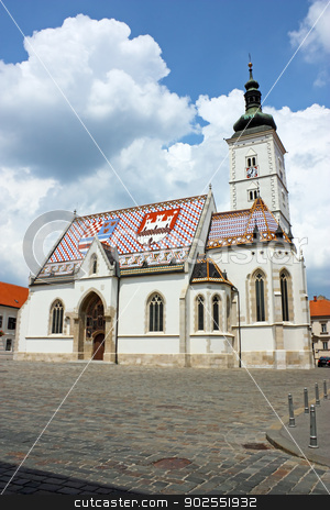 St. Mark's church stock photo, Church of St. Mark, Zagreb, Croatia by Borislav Marinic