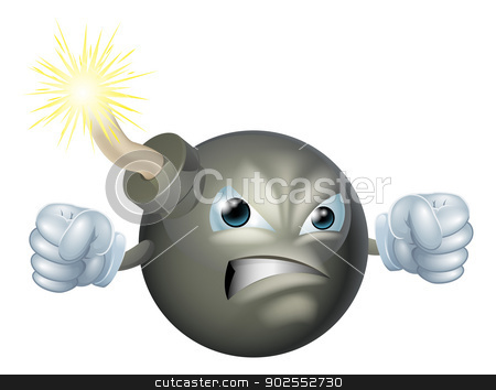 Angry cartoon bomb stock vector clipart, An illustration of an angry looking cartoon bomb character  by Christos Georghiou