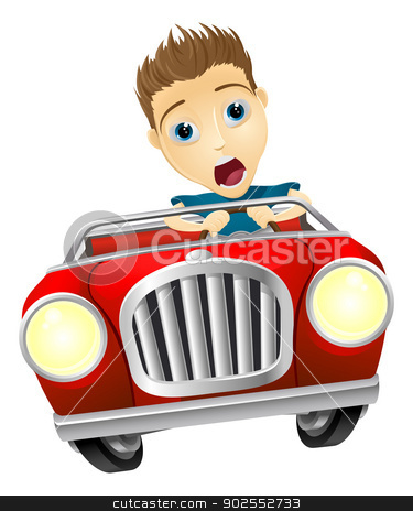 Cartoon man driving fast car stock vector clipart, Cartoon young man looking very scared driving fast in convertible sports car by Christos Georghiou