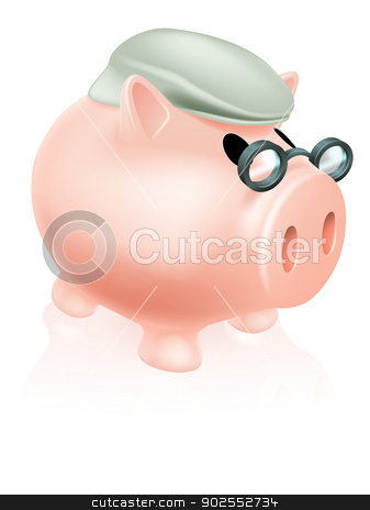 Pension pig money box stock vector clipart, Pension pig money box concept of a a savings piggy bank money box dressed in senior's hat and specs. by Christos Georghiou