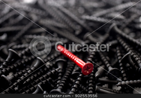 Photograph of a single red screw against a number of black screws stock photo, Photograph of a single red screw against a number of black screws: concept - be unique, be yourself, stand out in a crowd by Vince Clements
