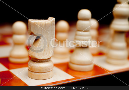 Horizontal shallow focus close-up of a chess knight stock photo, Horizontal shallow focus close-up of a chess knight by Vince Clements