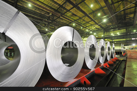 rolls of steel sheet  stock photo, rolls of steel sheet  by Iordache Magdalena