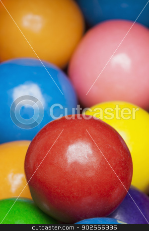 Multi-colored gumballs stock photo, Close-up of multi-colored gumballs, studio shot by Bryan Mullennix