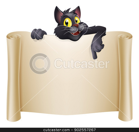 Halloween Cat Banner stock vector clipart, Halloween cat banner with a black witch's cat cartoon character above the banner scroll by Christos Georghiou